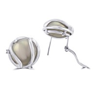 18ct White Gold Mabe Blister Pearl with Diamond