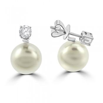18ct White Gold Cultured Pearl & Diamond Drops