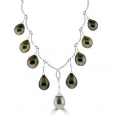 18ct White Gold Tahitian Pearl & Diamond Necklet