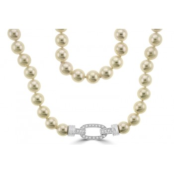 Akoya Pearl Necklet with Diamond set clasp
