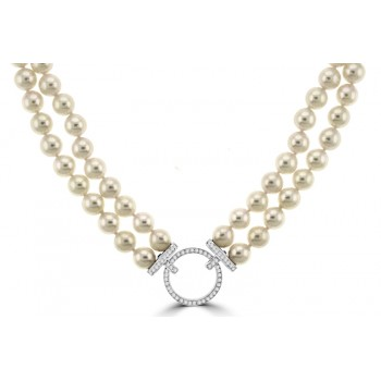 Akoya Cultured Pear Double Row Necklet with Diamond Clasp