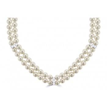 Akoya Cultured Pearl Double Row Diamond Necklet