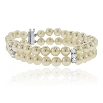 18ct White Gold Akoya Pearl & Diamond Bracelet