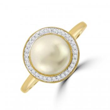 9ct Gold Pearl & Diamond Halo Ring